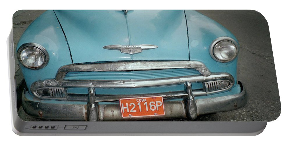 Taxi Portable Battery Charger featuring the photograph Old Havana Cab by Quin Sweetman