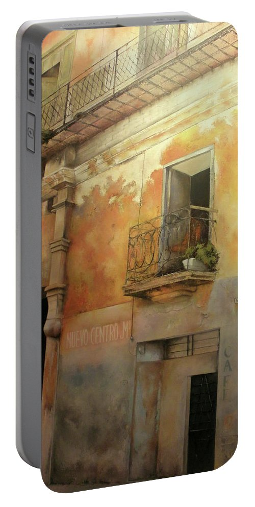 Havana Cuba Portable Battery Charger featuring the painting Old Havana by Tomas Castano