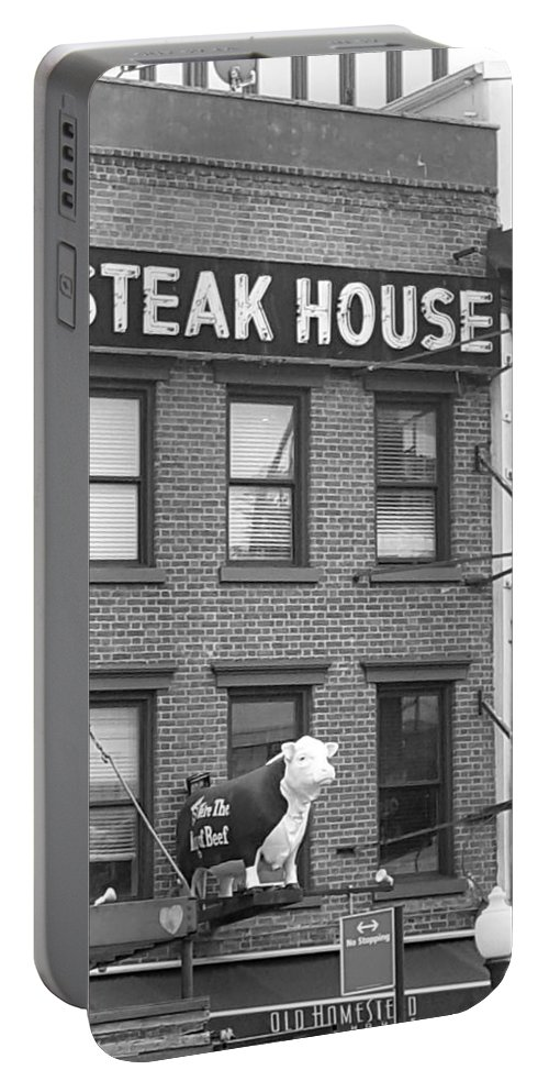 New York Landmark Portable Battery Charger featuring the photograph Old Homestead B W by Rob Hans