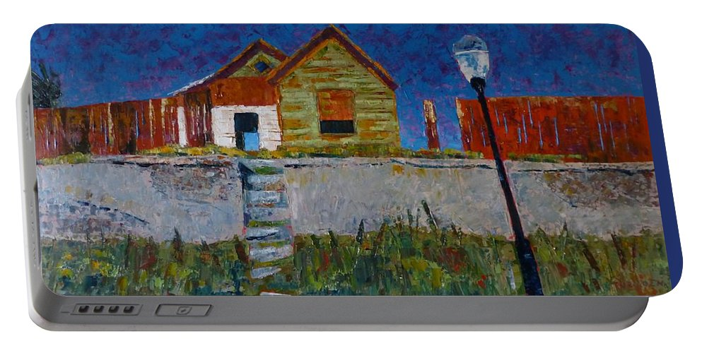 Old House Portable Battery Charger featuring the painting Old House With Lamppost by Susan Tormoen