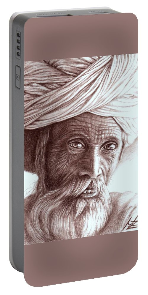 Man Portable Battery Charger featuring the drawing Old Indian Man by Nicole Zeug