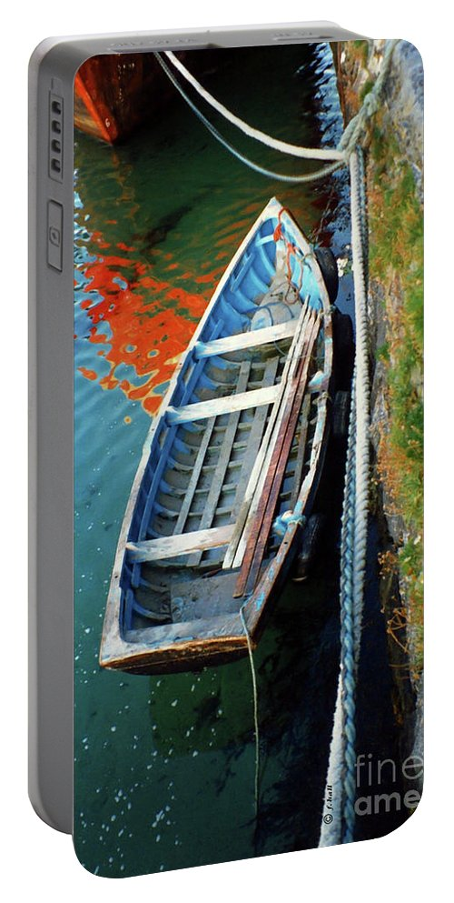 Boat Portable Battery Charger featuring the photograph Old Irish Boat by Francine Hall
