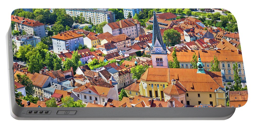 Slovenia Portable Battery Charger featuring the photograph Old Ljubljana Cityscape Aerial View by Brch Photography