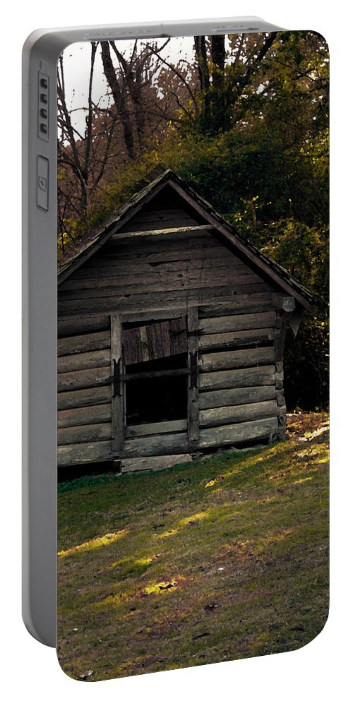 Log Cabin Portable Battery Charger featuring the photograph Old Log Cabin by Kim Henderson
