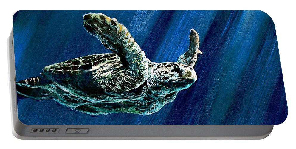 Turtle Portable Battery Charger featuring the painting Old Man Of The Sea by Marco Antonio Aguilar