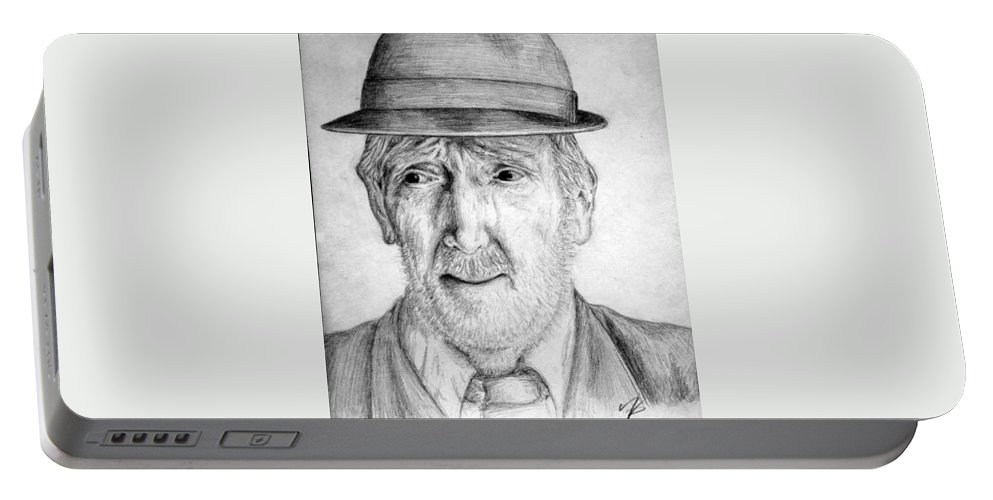 Man Portable Battery Charger featuring the drawing Old Man With Hat by Nicole Zeug