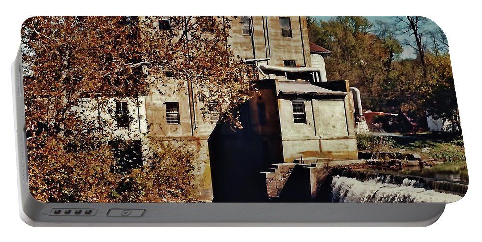 Mill Portable Battery Charger featuring the photograph Old Mill In Autumn by D Hackett
