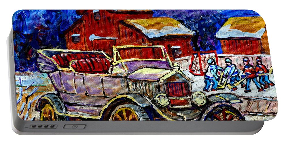 Model T Portable Battery Charger featuring the painting Old Model T Car Red Barns Canadian Winter Landscapes Outdoor Hockey Rink Paintings Carole Spandau by Carole Spandau