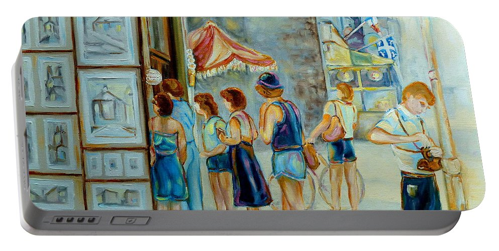 Old Montreal Street Scene Portable Battery Charger featuring the painting Old Montreal Street Scene by Carole Spandau