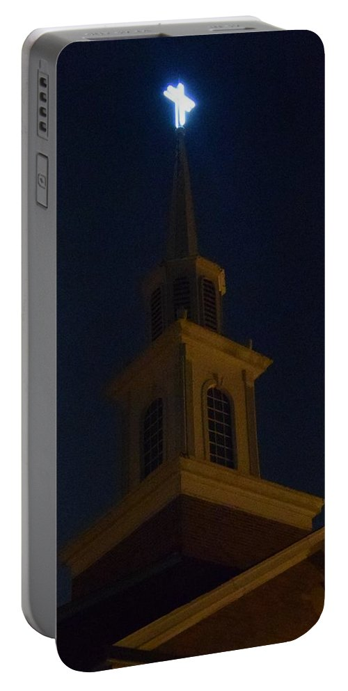 Neon Portable Battery Charger featuring the photograph Old Neon Cross 4 by Timothy Smith