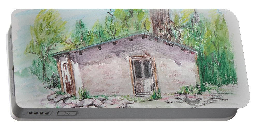Landscape Portable Battery Charger featuring the painting Old New Mexico House by Charme Curtin