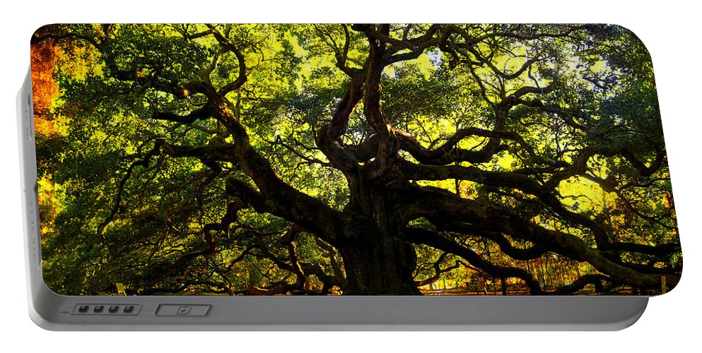 Angel Oak Portable Battery Charger featuring the photograph Old Old Angel Oak In Charleston by Susanne Van Hulst