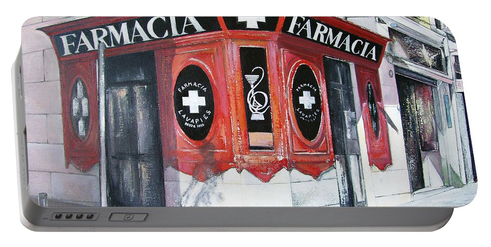 Pharmacy Portable Battery Charger featuring the painting Old Pharmacy by Tomas Castano