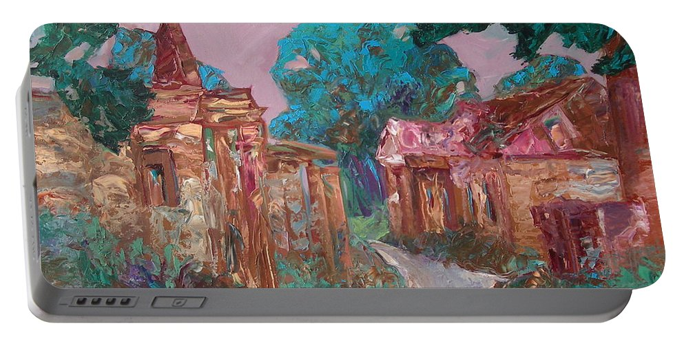 Landscape Portable Battery Charger featuring the painting Old Place by Sergey Ignatenko