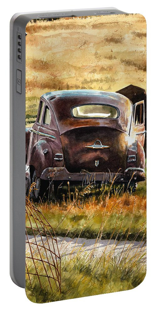 Old Car Portable Battery Charger featuring the painting Old Plymouth by Tom Hedderich