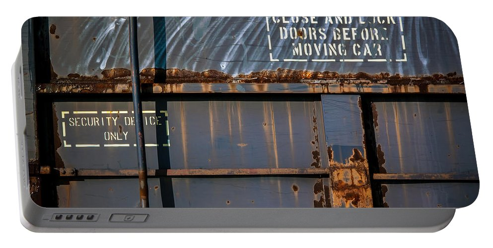Train Portable Battery Charger featuring the photograph Old Railroad Boxcar by Bob Orsillo
