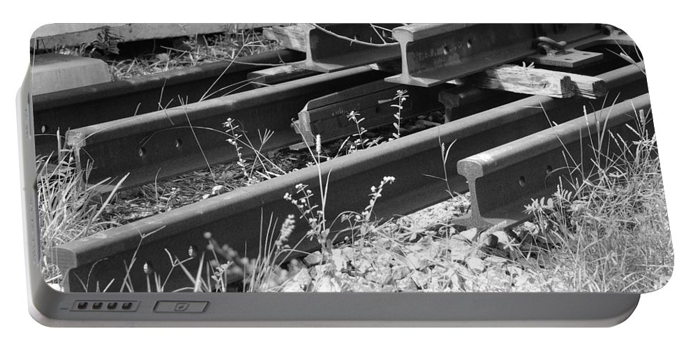 Black And White Portable Battery Charger featuring the photograph Old Rails by Rob Hans