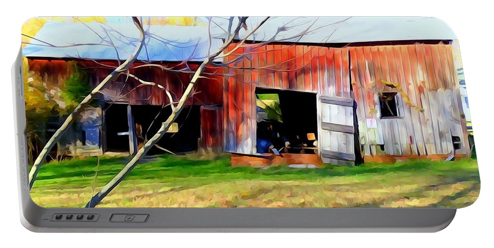 Digital Portable Battery Charger featuring the photograph Old Red Barn by Ed Weidman