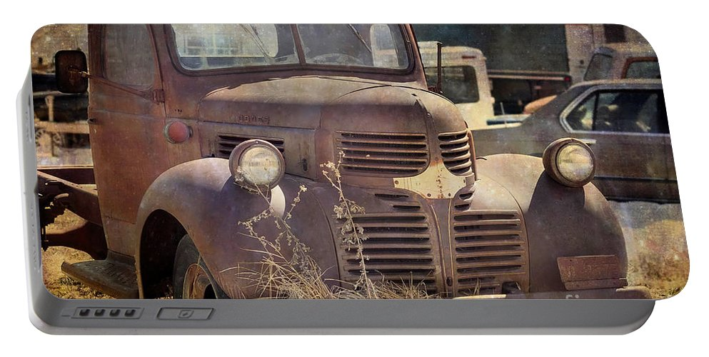 Old Portable Battery Charger featuring the photograph Old Red Dodge Truck by Janice Pariza