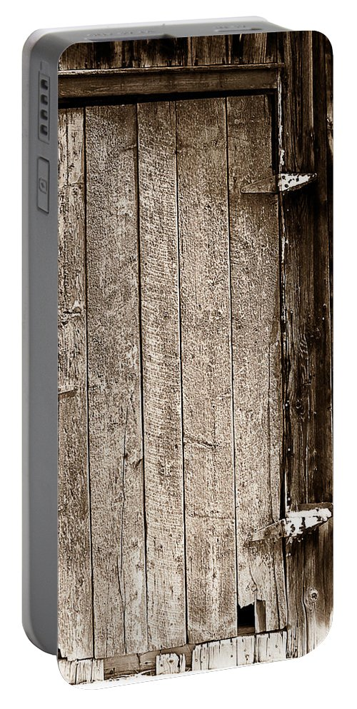 Old Portable Battery Charger featuring the photograph Old Rustic Black And White Barn Woord Door by James BO Insogna