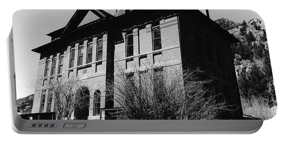 B&w Portable Battery Charger featuring the photograph Old School House by Katherine W Morse