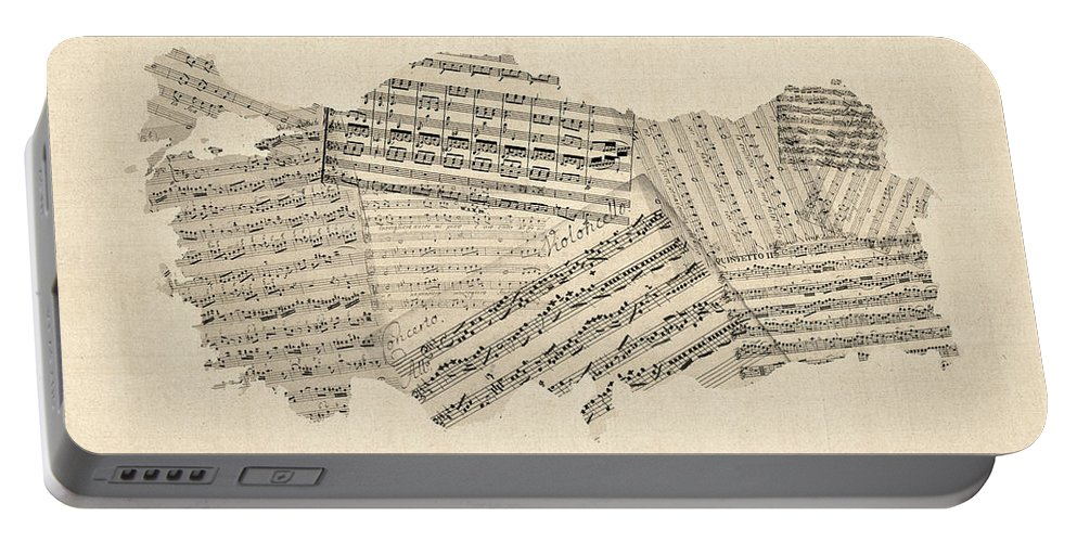 Turkey Portable Battery Charger featuring the digital art Old Sheet Music Map Of Turkey Map by Michael Tompsett