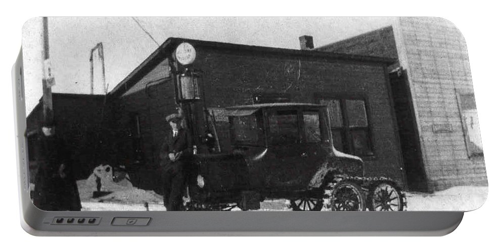 Classic Black And White Old Photo Pioneers Old Days 1900s Ski Truck Portable Battery Charger featuring the photograph Old Ski Truck by Andrea Lawrence