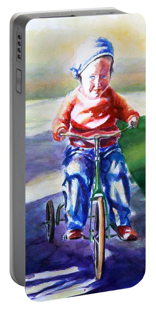 Girl Portable Battery Charger featuring the painting Old Soul by Shannon Grissom
