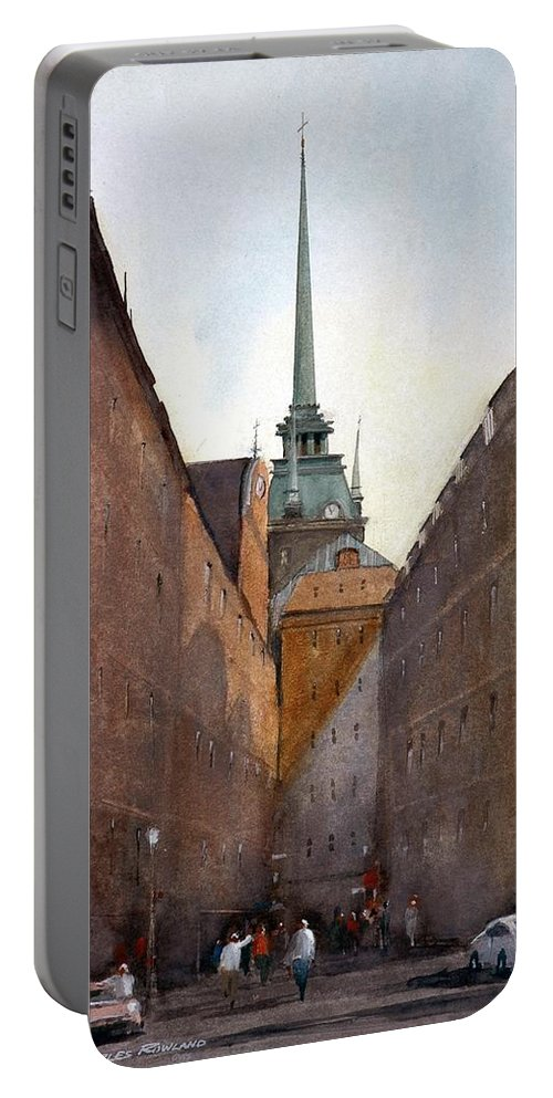 Stockhlolm Swedes Portable Battery Charger featuring the painting Old Stockholm by Charles Rowland