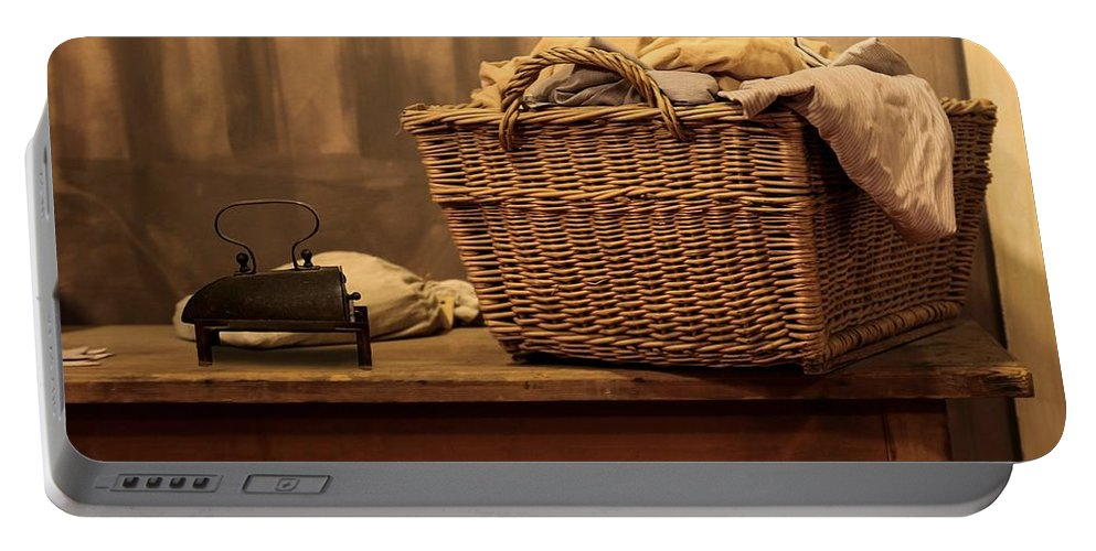 Ironing Portable Battery Charger featuring the photograph Old Style Laundry by FL collection