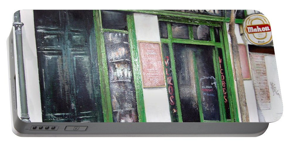 Bodegas Portable Battery Charger featuring the painting Old Tavern-madrid by Tomas Castano