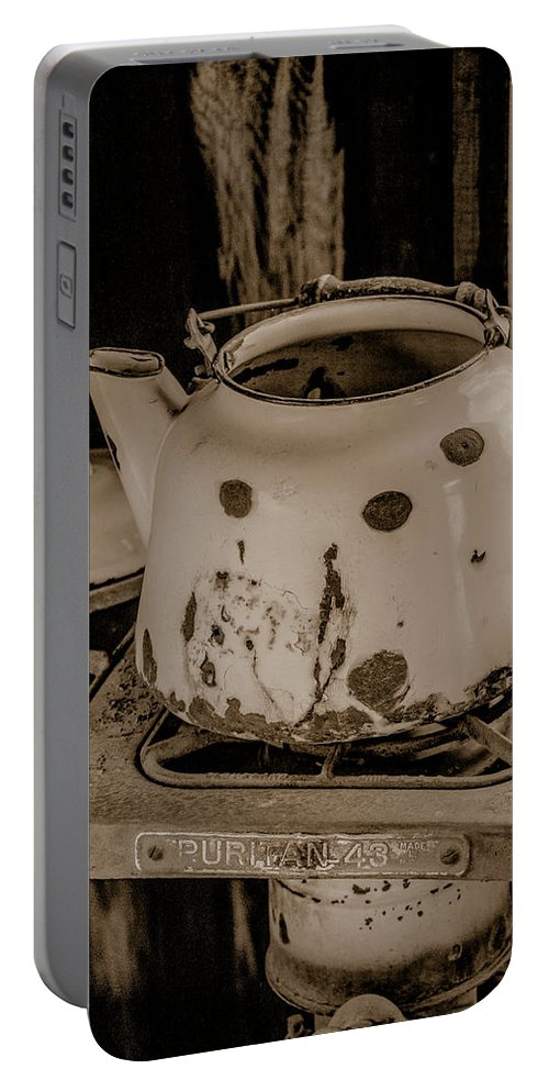 Tl Wilson Photography Portable Battery Charger featuring the photograph Old Tea Kettle In A Miner's Cabin by Teresa Wilson