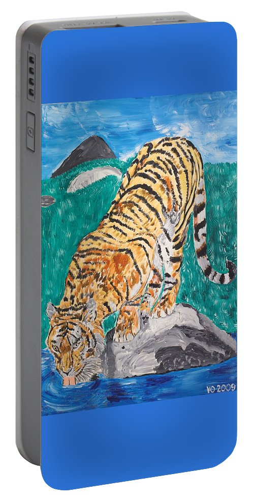 Cat Portable Battery Charger featuring the painting Old Tiger Drinking by Valerie Ornstein