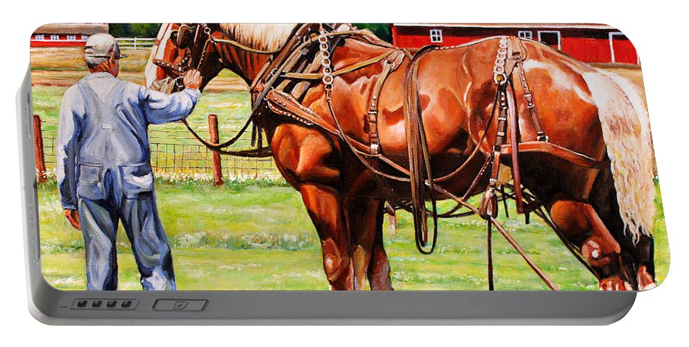 Belgian Portable Battery Charger featuring the painting Old Timers by Toni Grote