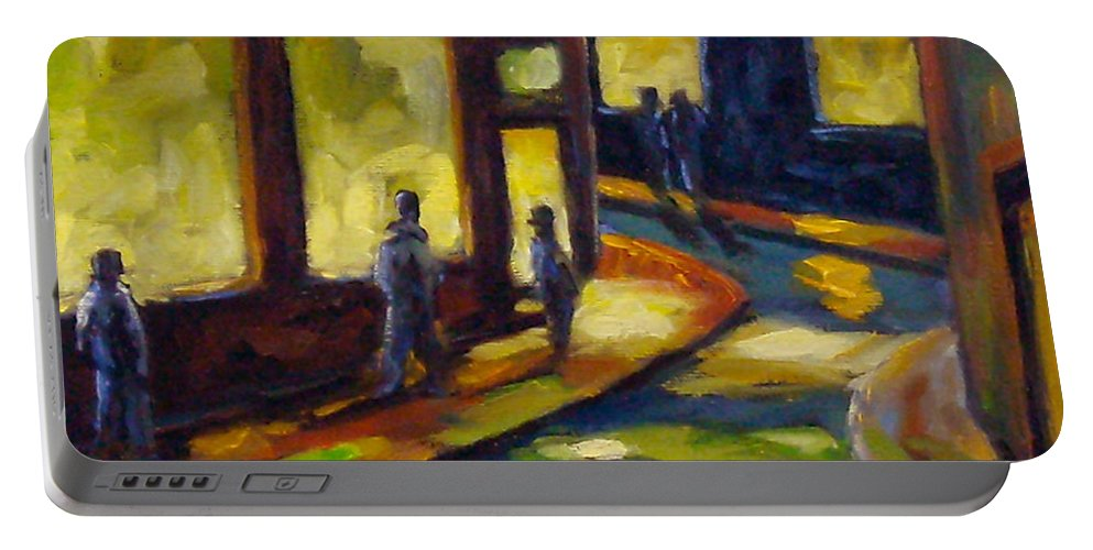 Urban; Scene; People; Night; Street; City; Scape; Love; Portable Battery Charger featuring the painting Old Town At Night by Richard T Pranke