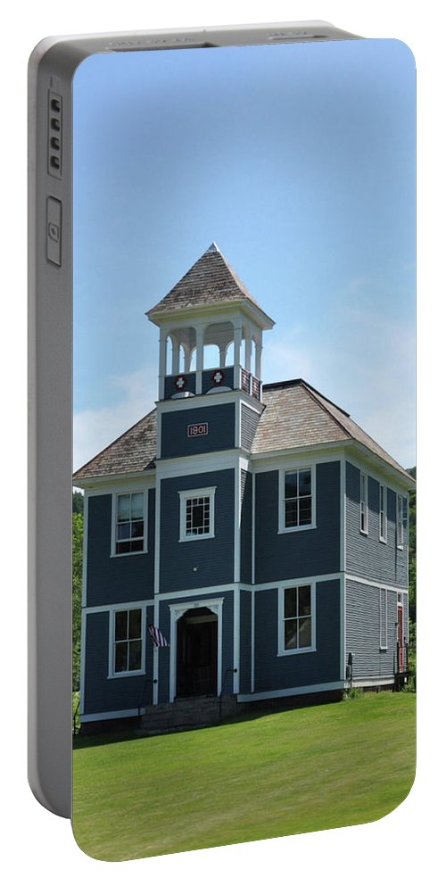 Landscape Portable Battery Charger featuring the photograph Old Two Room School House by Wanda-Lynn Searles