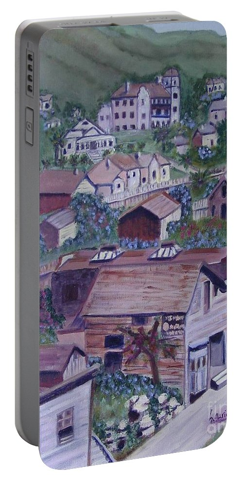 Ventura Portable Battery Charger featuring the painting Old Ventura by Laurie Morgan