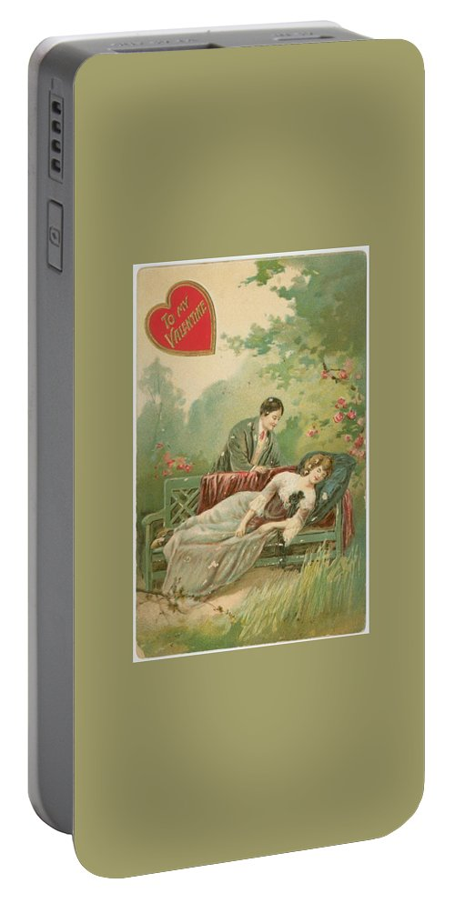 Old Victorian Era Valentine Card Portable Battery Charger featuring the painting Old Victorian Era Valentine Card by Pd