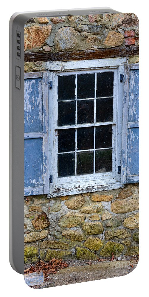 Paul Ward Portable Battery Charger featuring the photograph Old Village Window With Blue Shutters by Paul Ward