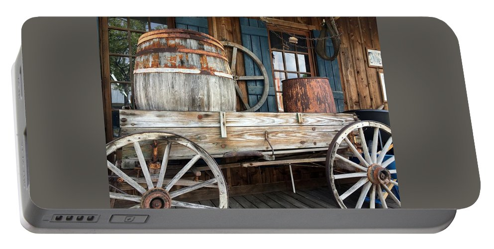 History Portable Battery Charger featuring the photograph Old Wagon And Barrell by Kathy Kirkland