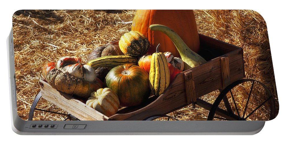 Gourd Portable Battery Charger featuring the photograph Old Wagon Full Of Autumn Fruit by Garry Gay