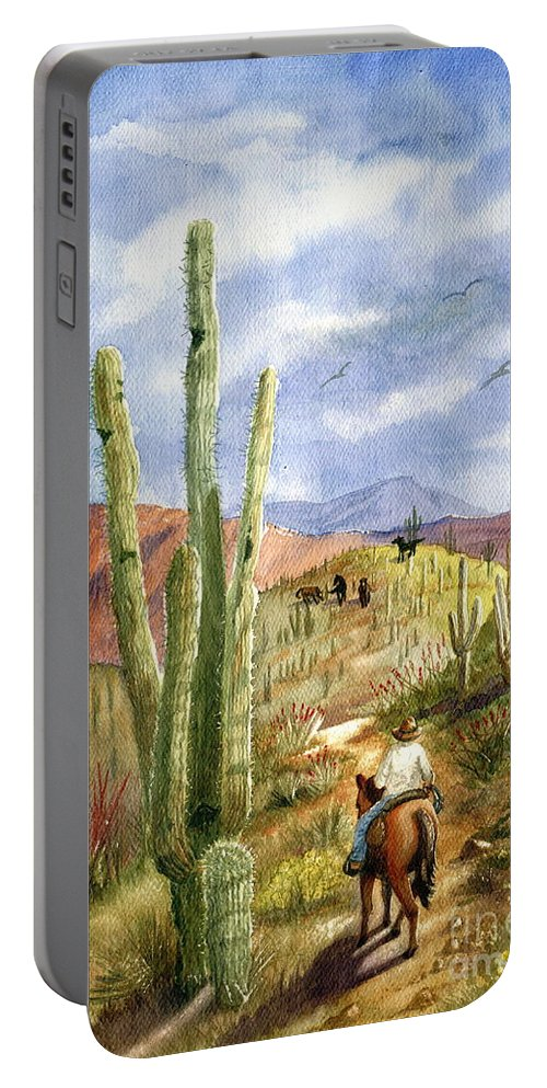 Western Scene Portable Battery Charger featuring the painting Old Western Skies by Marilyn Smith