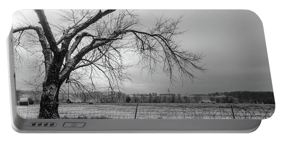 Agricultural Portable Battery Charger featuring the photograph Old Winter Tree Grayscale by Jennifer White