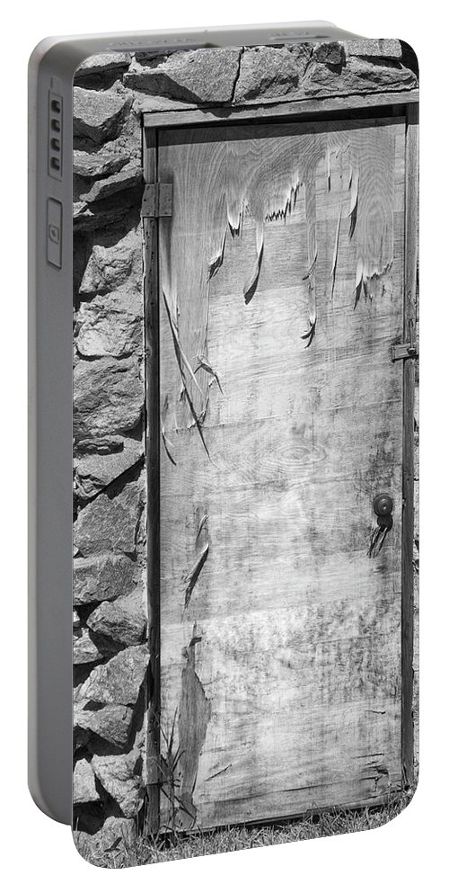 Vertical Portable Battery Charger featuring the photograph Old Wood Door And Stone - Vertical Bw by James BO Insogna