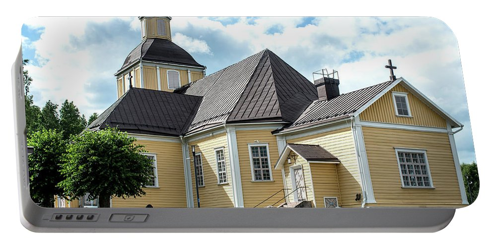 1789 Portable Battery Charger featuring the photograph Old Wooden Church by Jarmo Honkanen