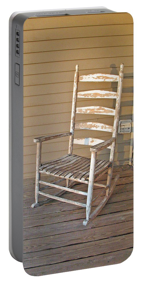 Abstract Portable Battery Charger featuring the photograph Old Wooden Rocking Chair by Carl Deaville