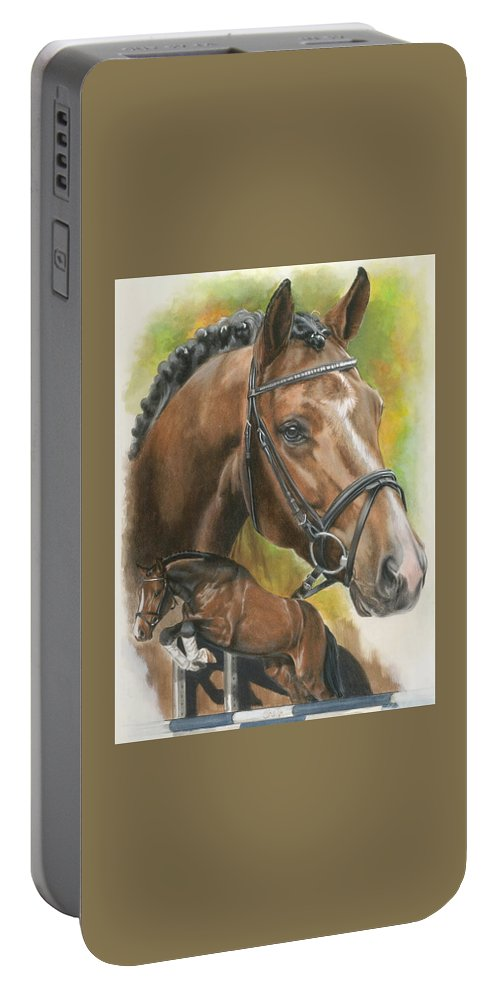 Hunter Jumper Portable Battery Charger featuring the mixed media Oldenberg by Barbara Keith
