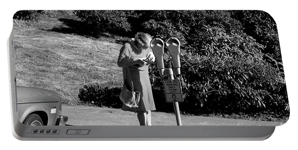 Black And White Image Portable Battery Charger featuring the photograph Older Woman Paying Parking Meter by Jim Corwin