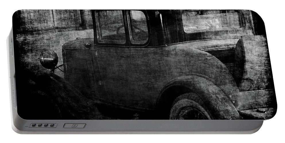 Old Cars Portable Battery Charger featuring the photograph Oldie 1 Bw by Ernie Echols