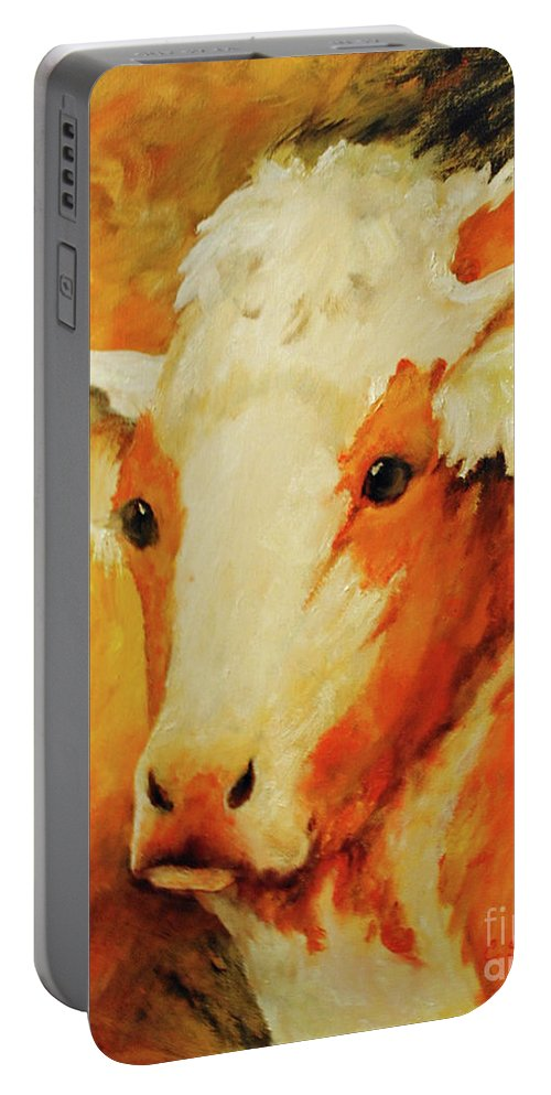 Cow Portable Battery Charger featuring the painting Ole Champ by Carolyn Shireman